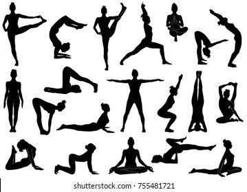 Set Of Vector Silhouettes Woman Doing Yoga Exercises Icons Flexible Girl Stretching Her