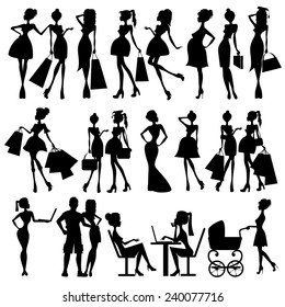 set of vector silhouettes of women
