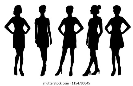 Set vector silhouettes women standing and walking, different poses, profile, people, group,  black color, isolated on white background