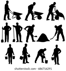 Set of vector silhouettes of worker with barrow, shovel and bucket. Icons of man in costume and helmet of builder working in different poses isolated on white background.