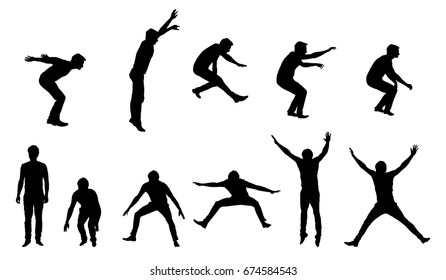 Set of vector silhouettes of young man in motion and jumping, isolated on white background