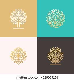 Set of vector simple and elegant logo design templates in trendy linear style- floral shops or studios, wedding florists, creators of custom floral arrangements, gardening businesses