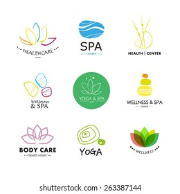 Set of vector simple flat logo elements isolated on white background. Wellness, yoga, spa, health and cosmetics emblem collection. Resort, wellness abstract zen symbol.