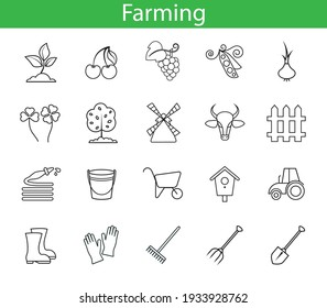 set with vector simple linear icons of farming farm and agricultural culture drawing abstract logo icon isolated black on white background