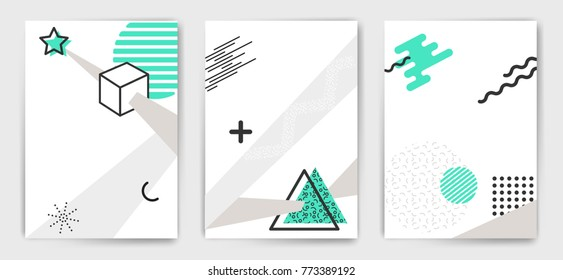 Set of vector simple shapes minimalistic abstract poster templates. Minimal modern placard, brochure, cover. Trendy style edition. Easy to modify and add text