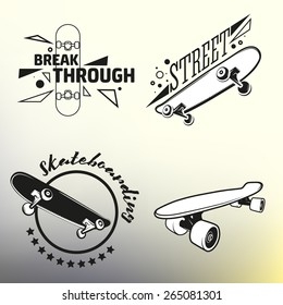 Set of vector skateboarding emblems, labels and designed elements. EPS 10.