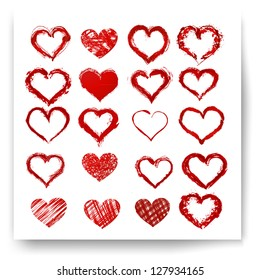 Set of vector sketch hearts