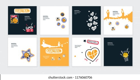 Set of vector sketch illustrations, designs for basketball. Hand drawing, lettering, sport grunge background for text, cool dude, ball in the shape of heart, typography.
