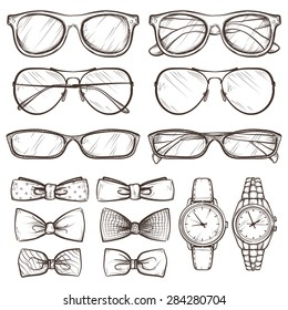 set of vector sketched accessories