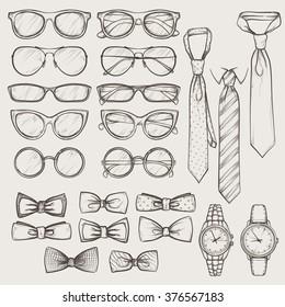 set of vector sketched accessories