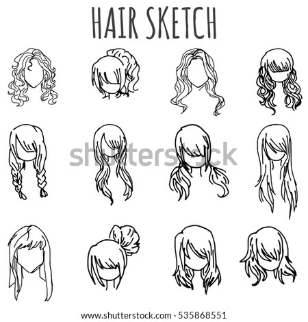 Set Vector Sketched Different Female Hairstyle Stock Vector Royalty