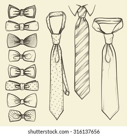 set of vector sketched ties and bows