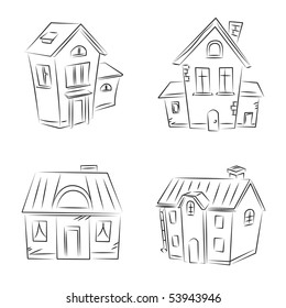"Set of vector sketches "" Beautiful Houses"""