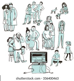 Set of vector sketches of various people and children. Family watching television. Pregnant mother, children, grandparents, teens, doctors.