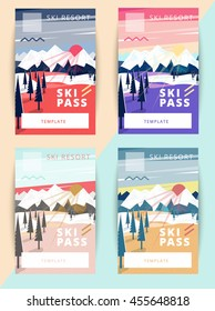 Set of vector ski pass template design. Trendy colorful mountain background illustration