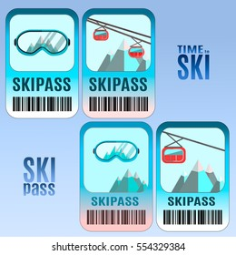 Set of vector ski pass template design. Good for extreme sport club. Vector colorful design.