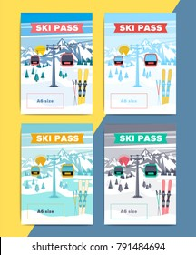 Set of vector ski pass template design. Colorful mountain resort background illustration. Skipass ticket or card layout with lift or gondola on winter landscape.