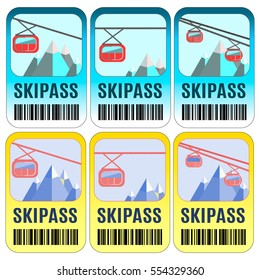 Set of vector skipass template design. Good for extreme sport club. Vector colorful design.