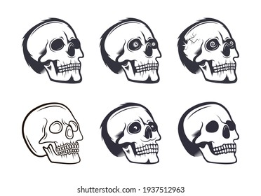 A set of vector skulls. Stylish human skulls for creating tattoos, prints, stickers and other designs. Illustrations for Halloween and the Day of the Dead.