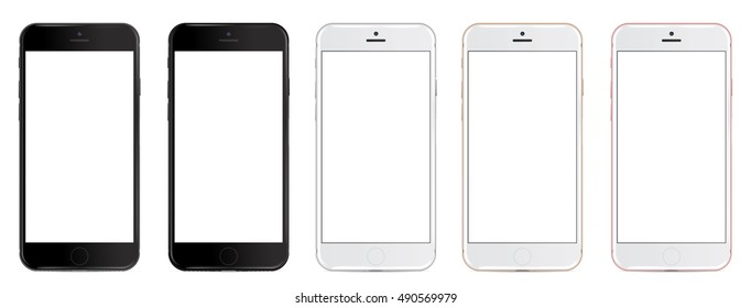 Set of vector smartphones with blank screen in five colors: black, glossy black, silver, gold and rose. Eps 10 format. mockup - Simple way to put a picture or screenshot below glossy screen layer.