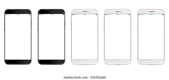 Set of vector smartphones with blank screen thin frame in five colors: black, glossy black, silver, gold and rose mockup - Simple way to put a picture or screenshot below glossy screen layer.