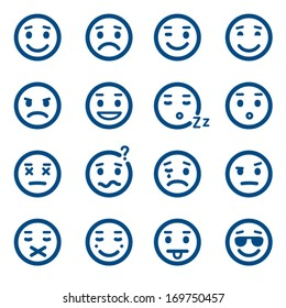 Set of vector smiley icons. Emoticons.
