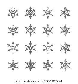 Set vector of snow flake icons grey on white background