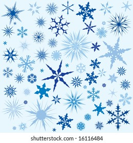 Set of vector snow flakes in different colors for use as a background