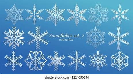 Set of vector Snowflakes Christmas design with blue ice luxury color on blue background. Winter white snow flake crystal element. Xmas frost flat isolated silhouette symbol