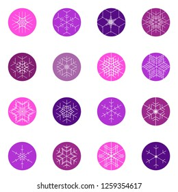 Set of vector snowflakes. Snowflakes icon collection.