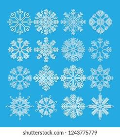 set of vector snowflakes icon on white background
