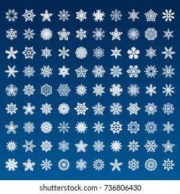set of vector snowflakes on blue background