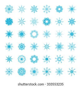Set of vector snowflakes on a white background.