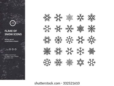 Set of Vector Snowflakes Shapes. Hipster Style Design for Labels, Badges and Icons. Winter Frozen Geometric Symbol.