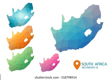 Set of vector South Africa maps. Bright gradient map of country in low poly style. Multicolored country map in geometric style for your infographics. Vector illustration eps 10.