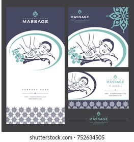 Set vector spa massage card templates stock vector royalty free set of vector spa massage card templates with floral elements for business cards invitations accmission Image collections