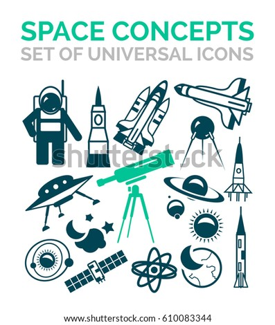 Set Vector Space Icons Satellite Rocket Stock Vector