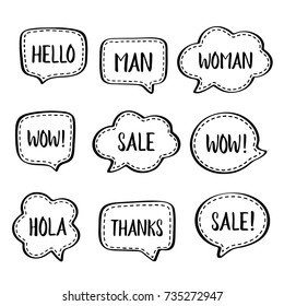 Set of vector speech bubbles with white dashed line and short popular words: hello, man, woman,wow, sale, hola, thanks. Vector illustration