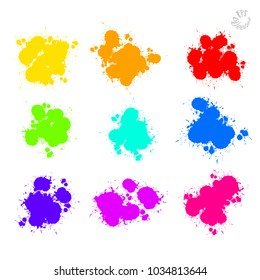 Set of Vector Splat Drops painted. Beautiful hand drawn vector sketch. Colorful elements for social media and print decoration.