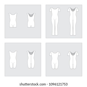 Set of vector sportswear templates - overall camisole, biketard, for sport, fitness, gymnastics.