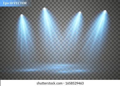 Set of vector spotlights. Scene. Lighting effects. Vector graphics.