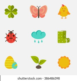 Set of Vector spring flat icons.