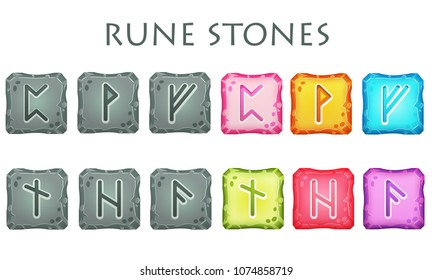 Set of vector square colorful and grey stones with rune symbols. Perfect as game icons, elements.