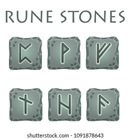 Set of vector square grey stones with rune symbols. Perfect as game icons, elements.