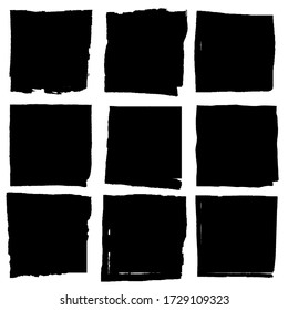 Set of vector square grunge black stickers isolated on white background. A group of labels with uneven rough edges drawn with an ink brush. Vector design elements, 9 square frames