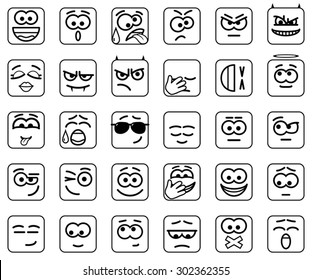 Set Vector Square Smileys with rounded corners