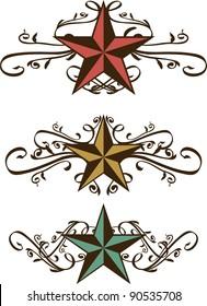 Set of Vector Star Scrolls