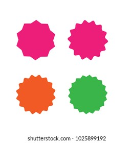 Set of vector starburst, sunburst badges. Different color. Simple flat style Vintage labels. Design elements. Colored stickers. A collection of different types and colors icon.
