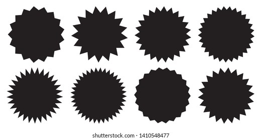 Set of vector starburst, sunburst badges. Black icons on white background. Simple flat style vintage labels, stickers.