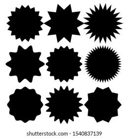 Set of vector starburst, sunburst badges. Simple flat style vintage labels, stickers, Black icons on white background - vector